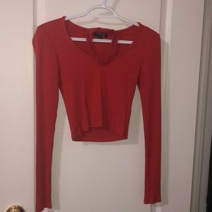 long sleeve ribbed-Topshop